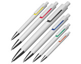Kunststoffkugelschreiber mit farbigen Applikationen und blau schreibender Großraummine
